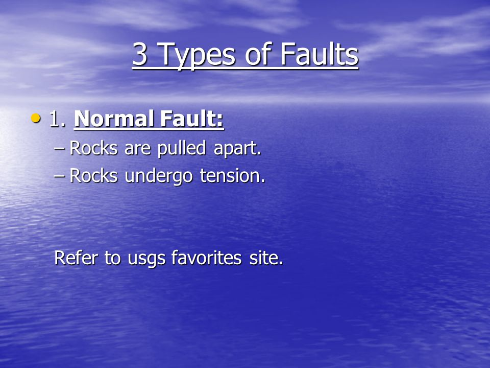 3 Types of Faults 1. Normal Fault: Rocks are pulled apart.