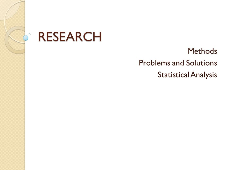 Methods Problems and Solutions Statistical Analysis