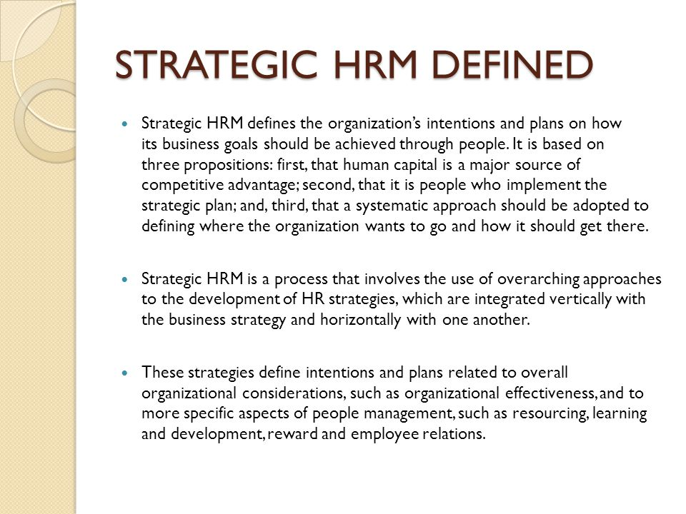 strategic human resources management concept and issues ppt videostrategic hrm defined