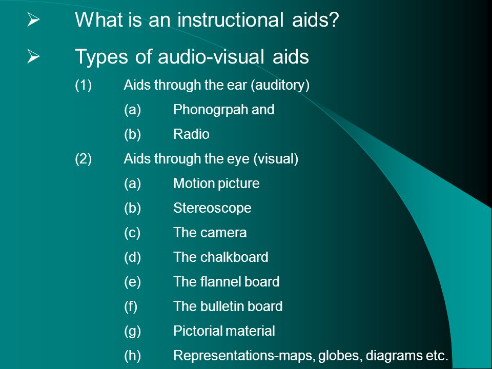essay audio visual aids Three examples of audio visual aids would be a movie or some type of video, a powerpoint presentation, and a classic presentation using a presentation board or an overhead projector.