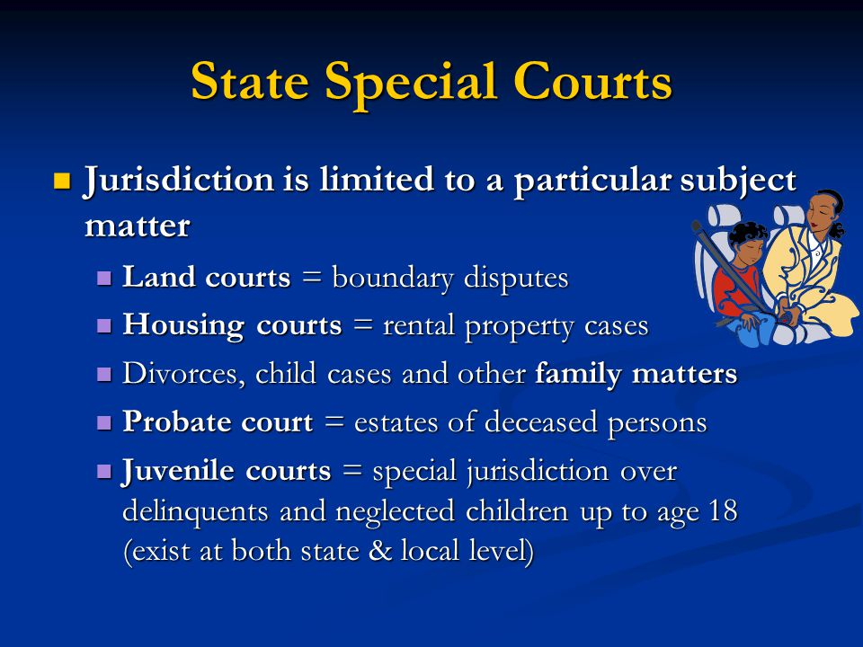 State Special Courts Jurisdiction is limited to a particular subject matter. Land courts = boundary disputes.