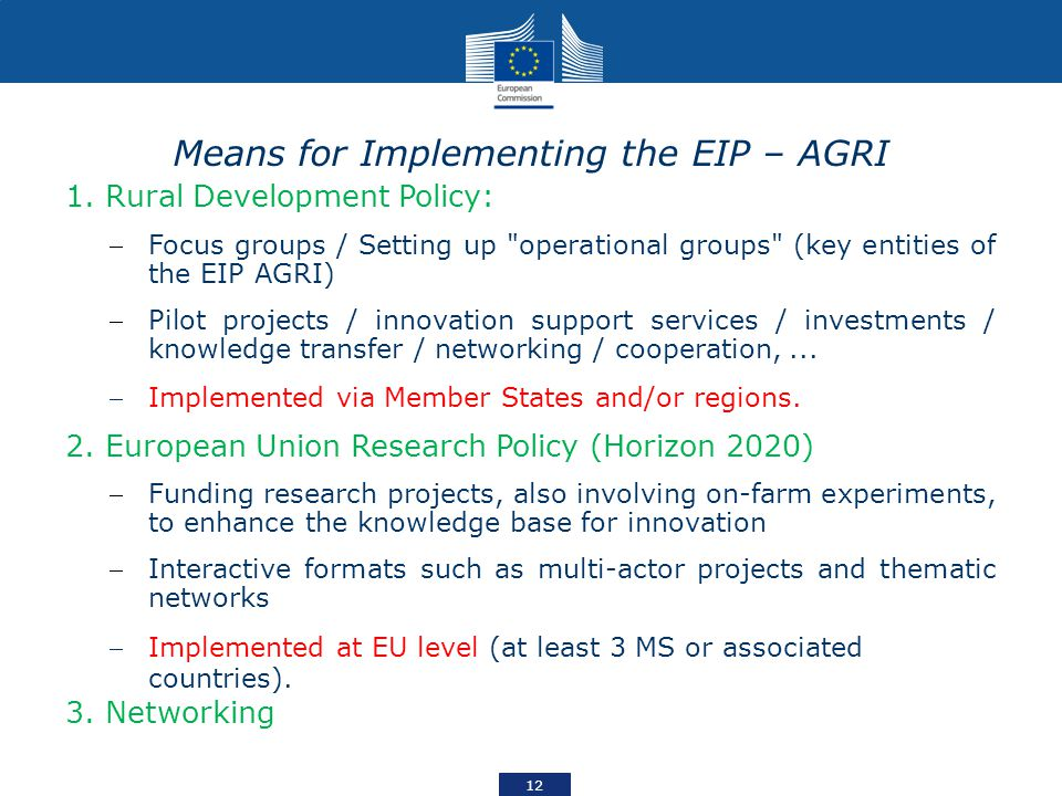 Means for Implementing the EIP – AGRI