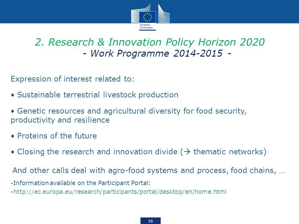 2. Research & Innovation Policy Horizon Work Programme