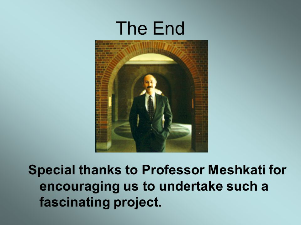 The End Special thanks to Professor Meshkati for encouraging us to undertake such a fascinating project.