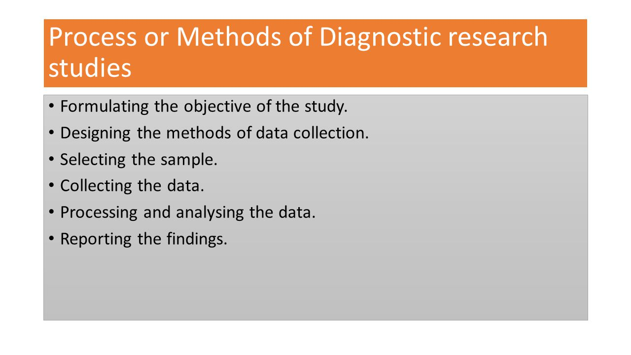 Process or Methods of Diagnostic research studies