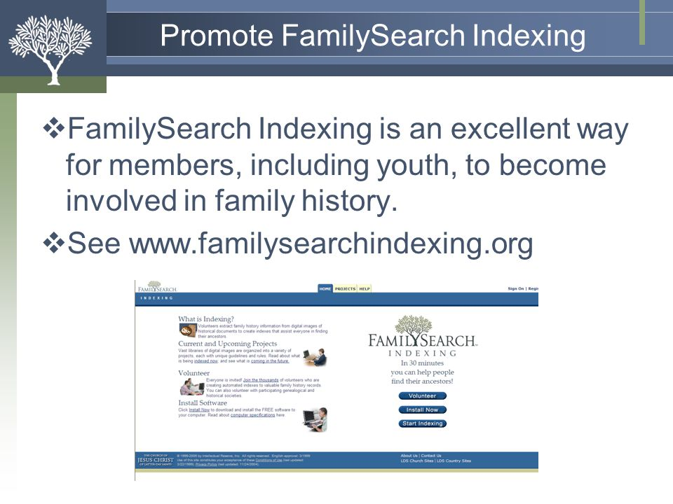 Promote FamilySearch Indexing