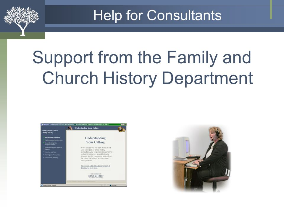 Support from the Family and Church History Department