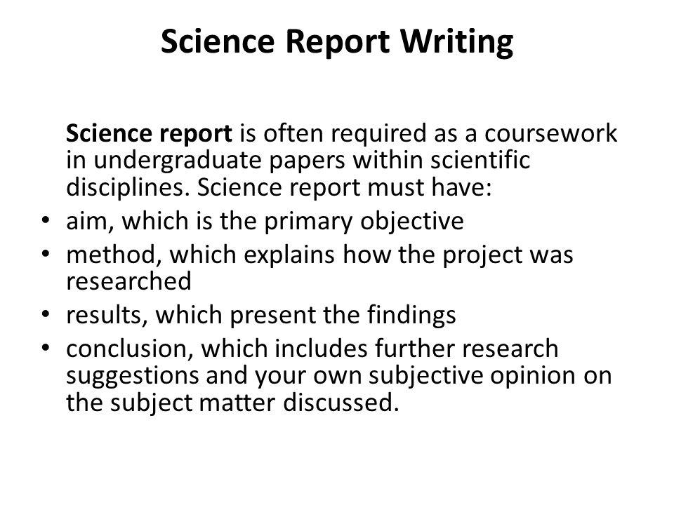 scientific report conclusion