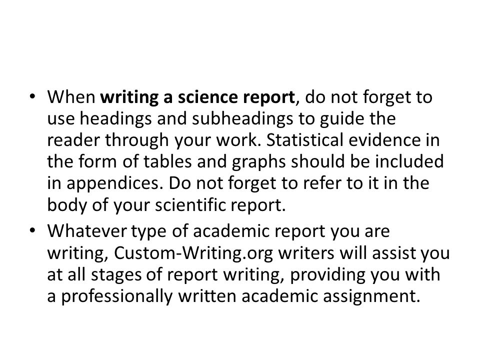 how to do a science report
