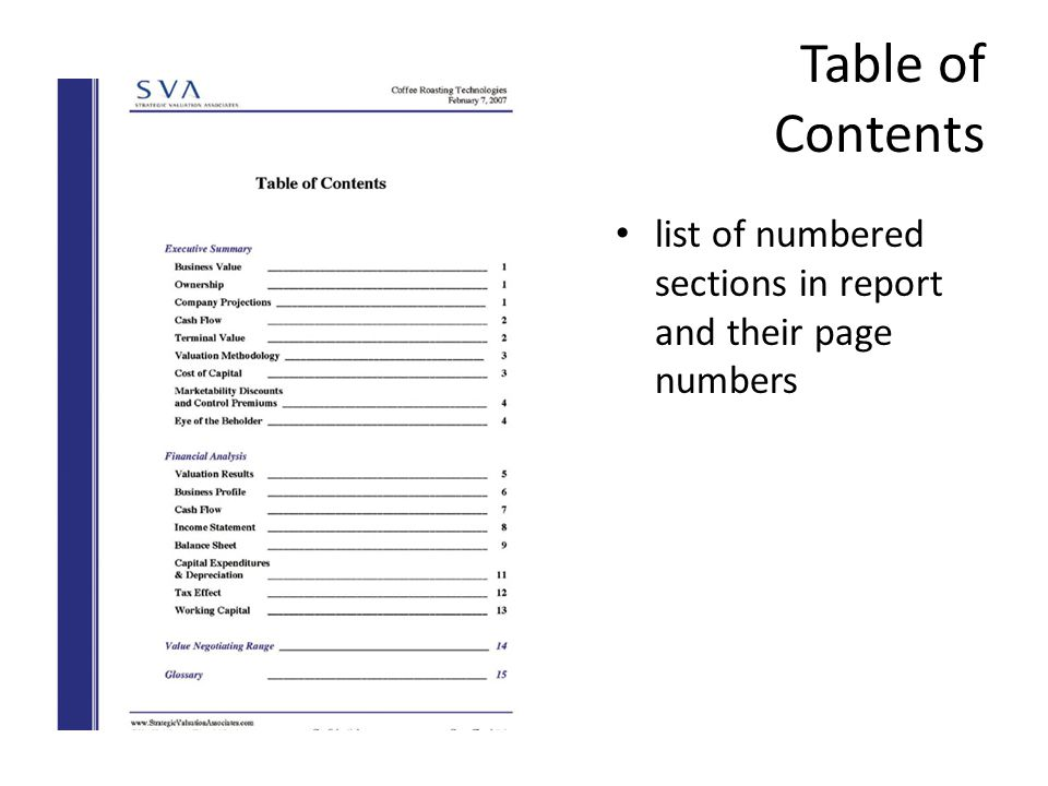 Hello welcome back ppt video online download 5 table of contents list of numbered sections in report and their page numbers flashek Gallery