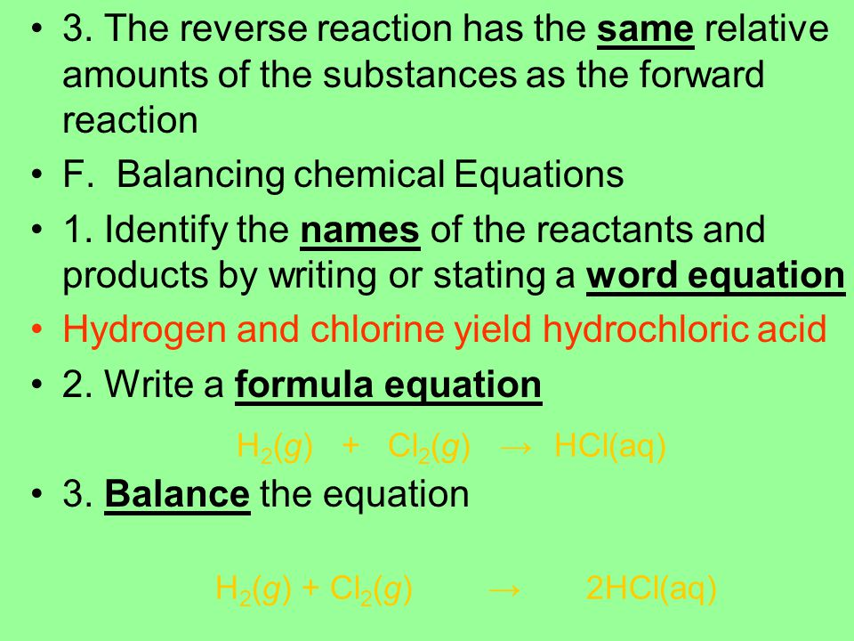F. Balancing chemical Equations