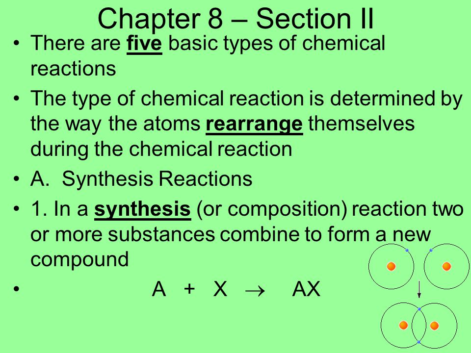 Chapter 8 – Section II There are five basic types of chemical reactions.