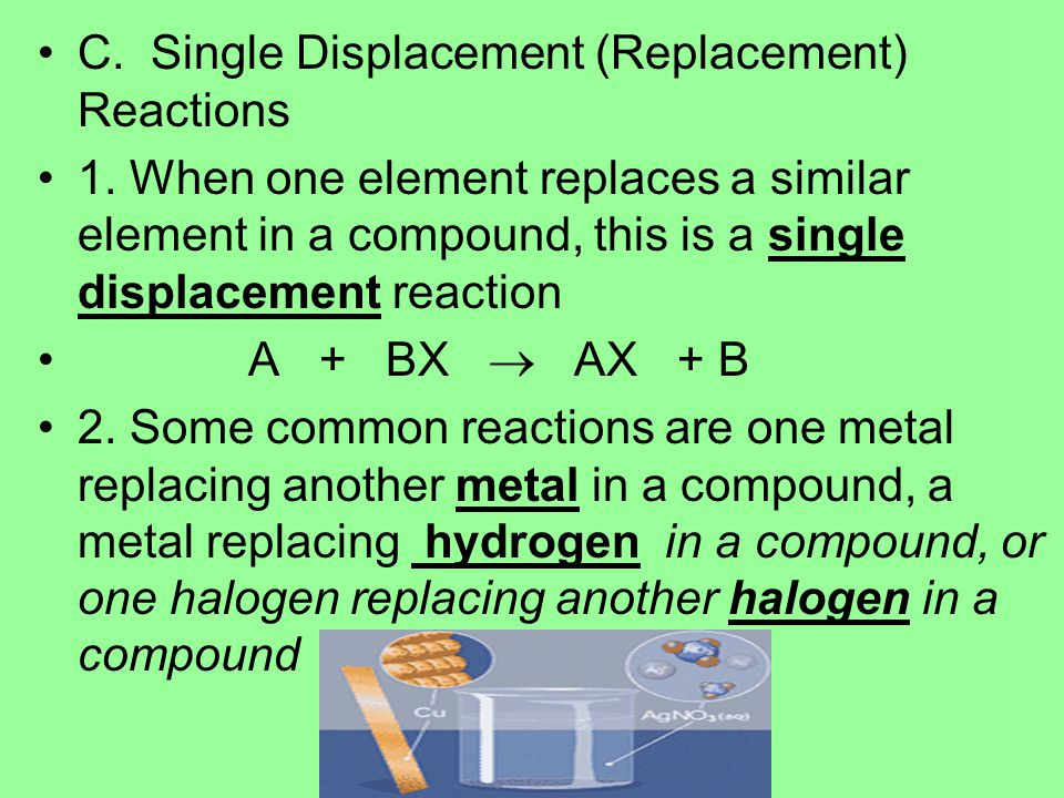 C. Single Displacement (Replacement) Reactions