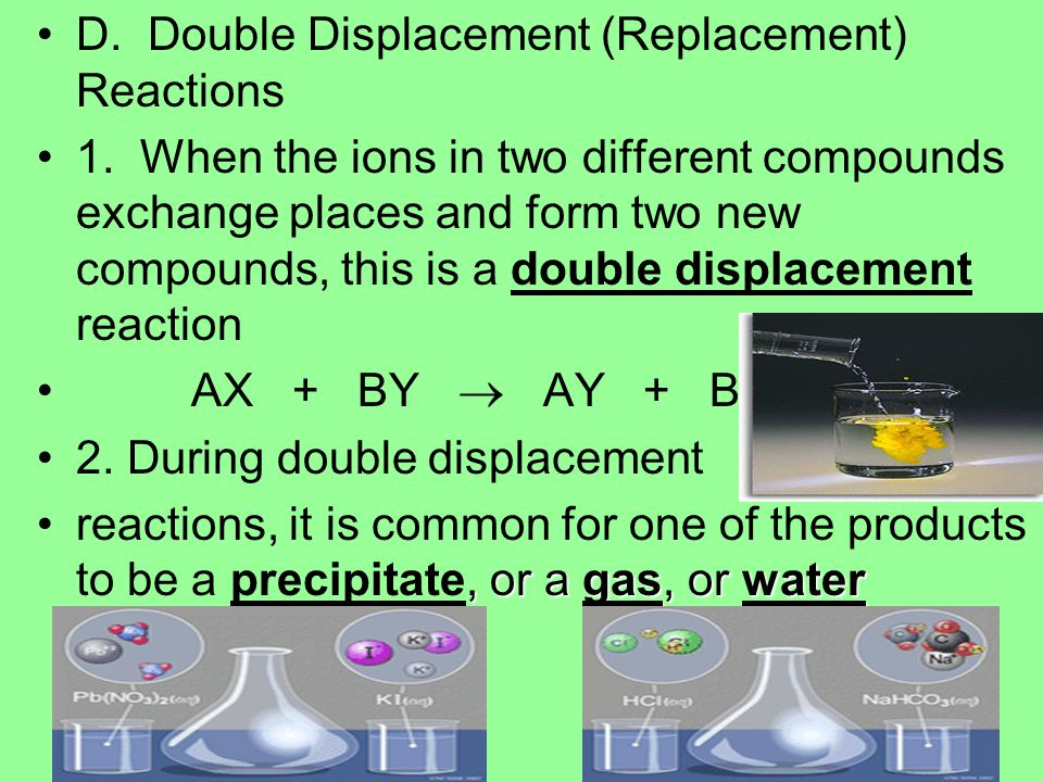 D. Double Displacement (Replacement) Reactions