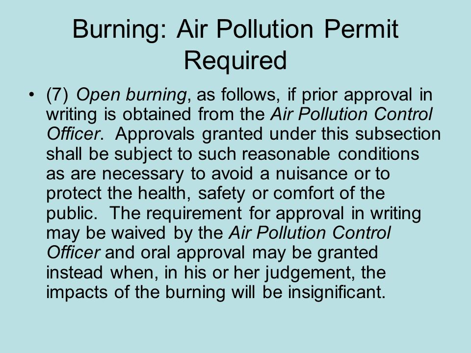 Burning: Air Pollution Permit Required