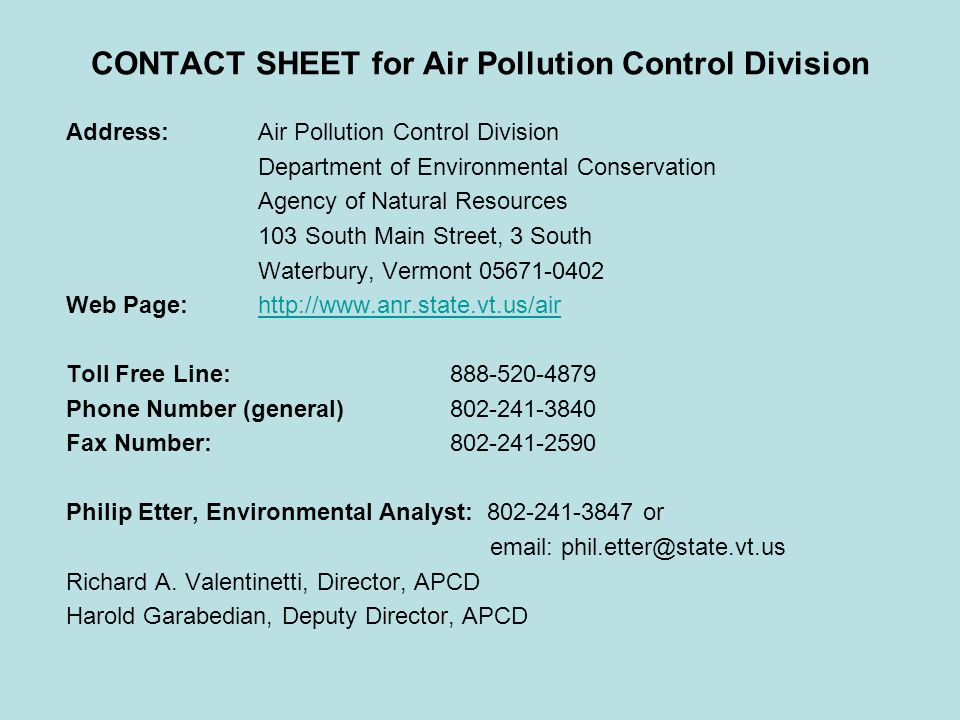 CONTACT SHEET for Air Pollution Control Division
