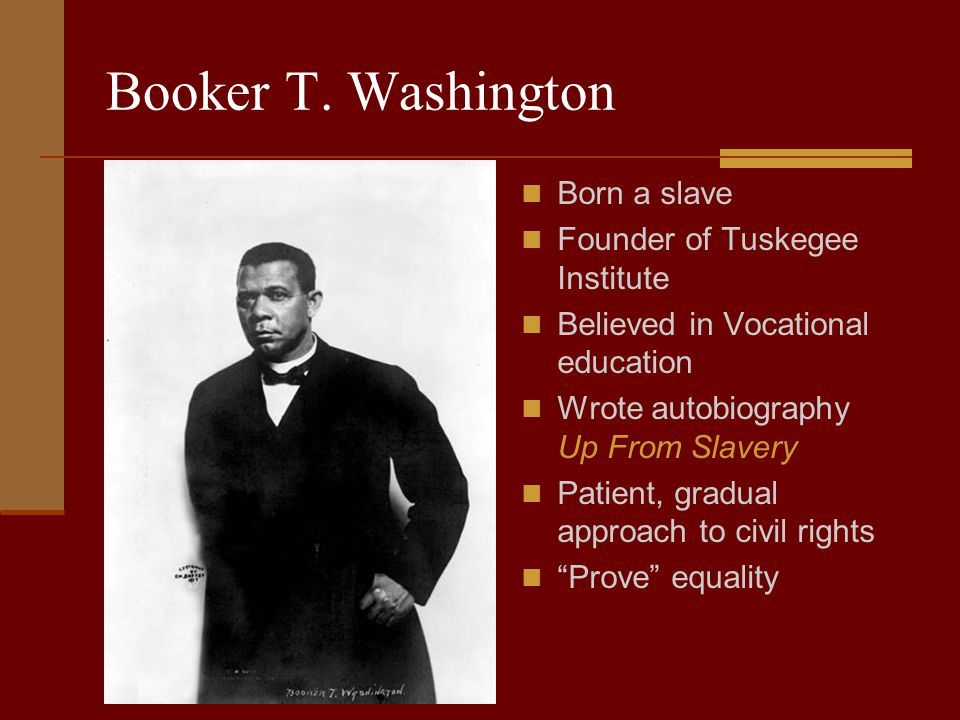 Booker T. Washington Born a slave Founder of Tuskegee Institute