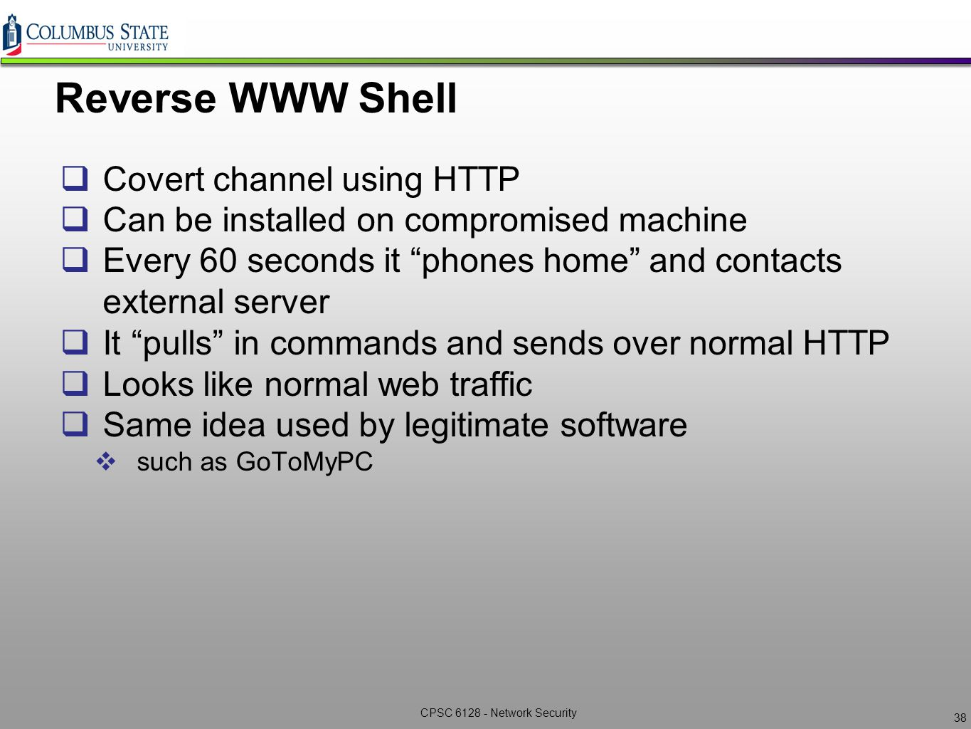 Network Security CPSC6128 – Lecture 4 Post Exploitation ppt