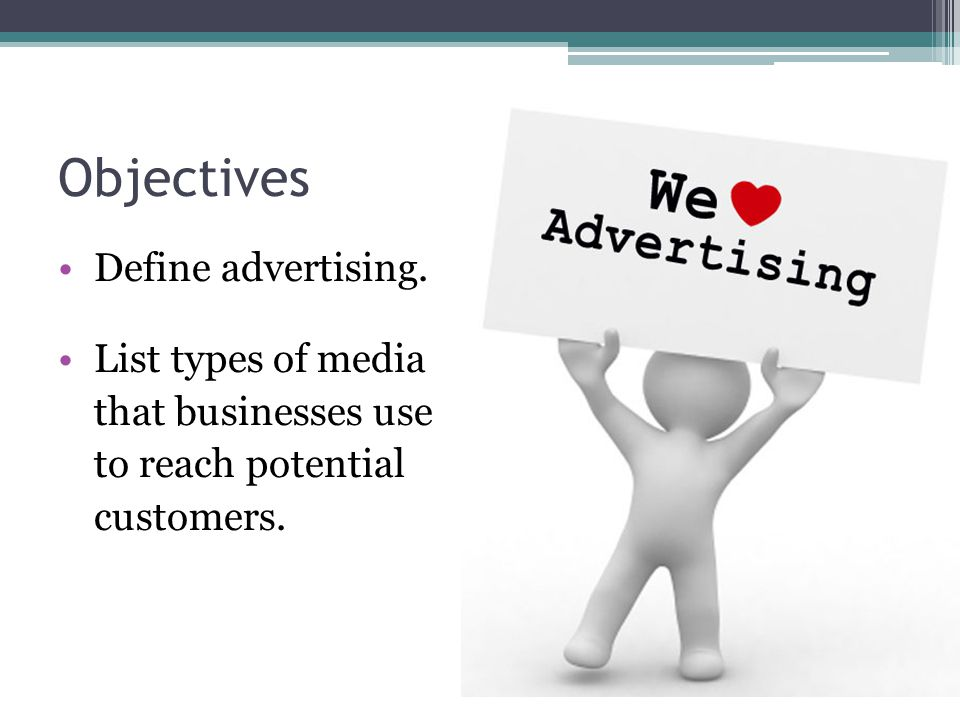 Objectives Define advertising.