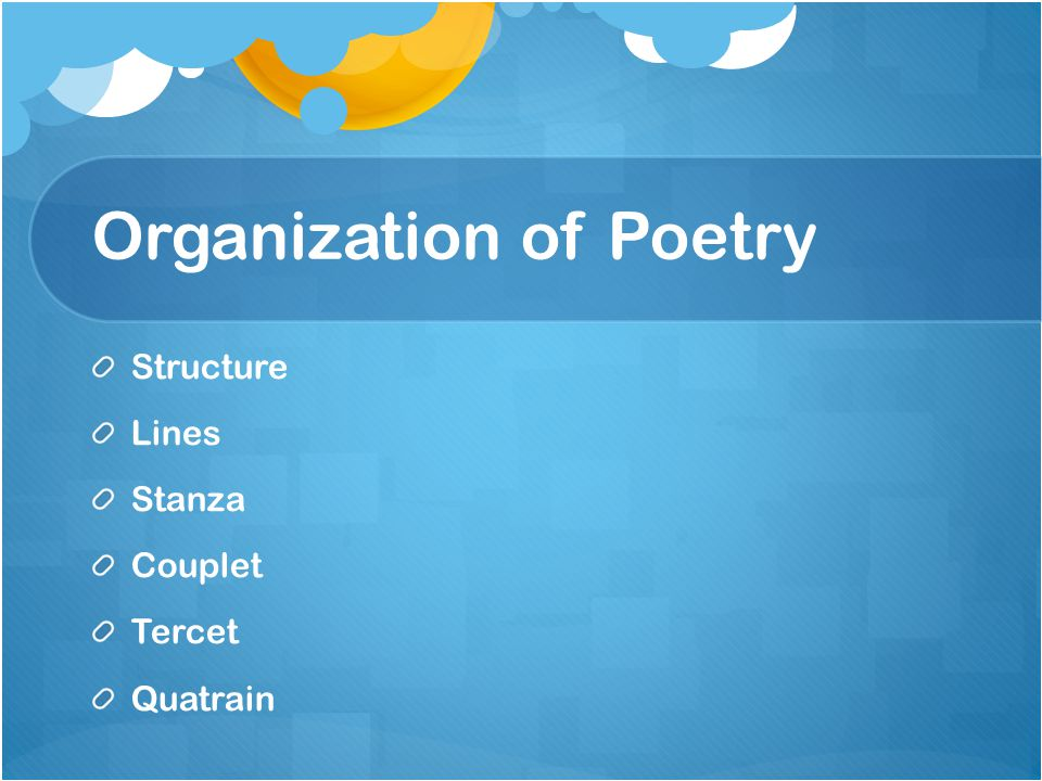 Organization of Poetry