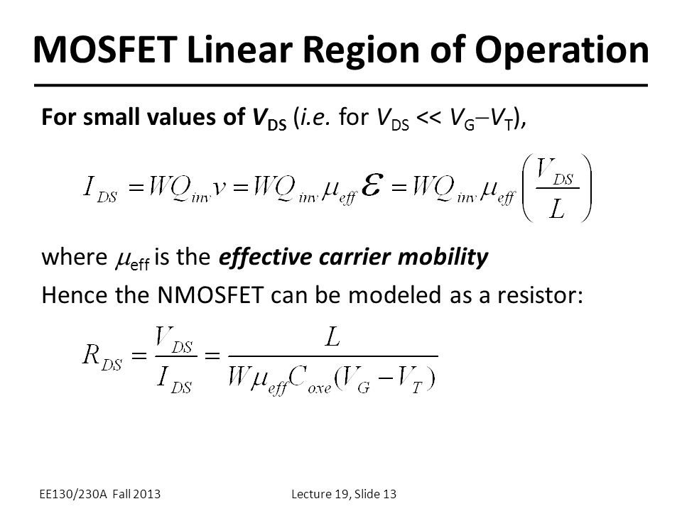 Lecture 19 OUTLINE The MOSFET: Structure and operation - ppt