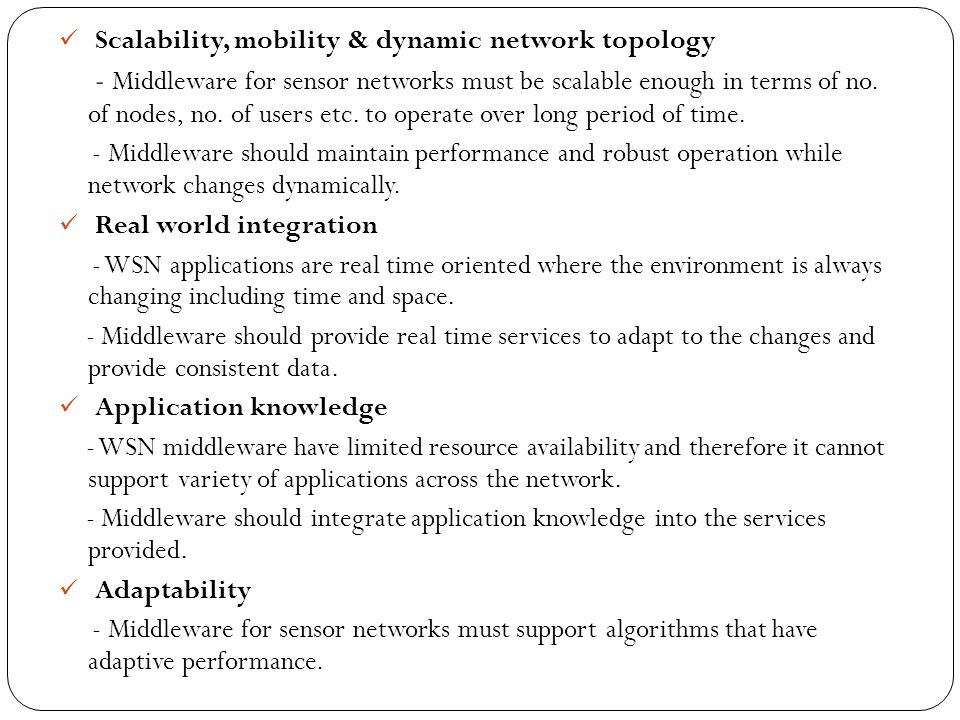 Scalability, mobility & dynamic network topology