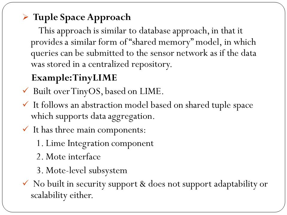 Tuple Space Approach