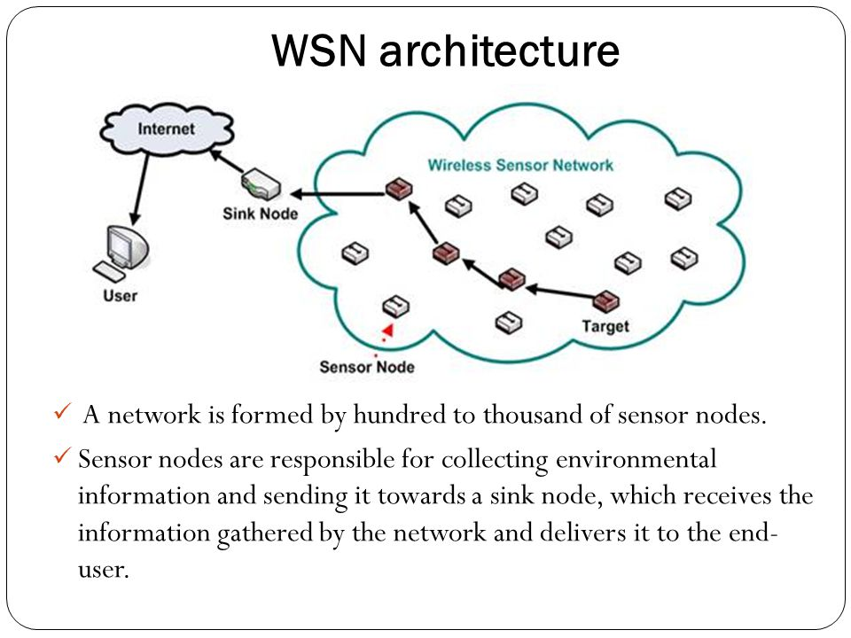 WSN architecture A network is formed by hundred to thousand of sensor nodes.
