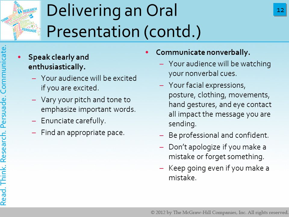 Delivering an Oral Presentation (contd.)