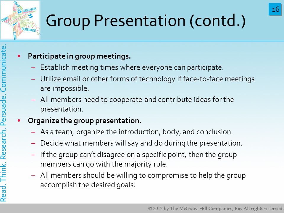 Group Presentation (contd.)