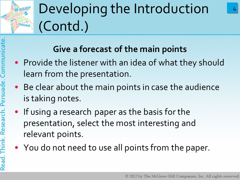 Developing the Introduction (Contd.)