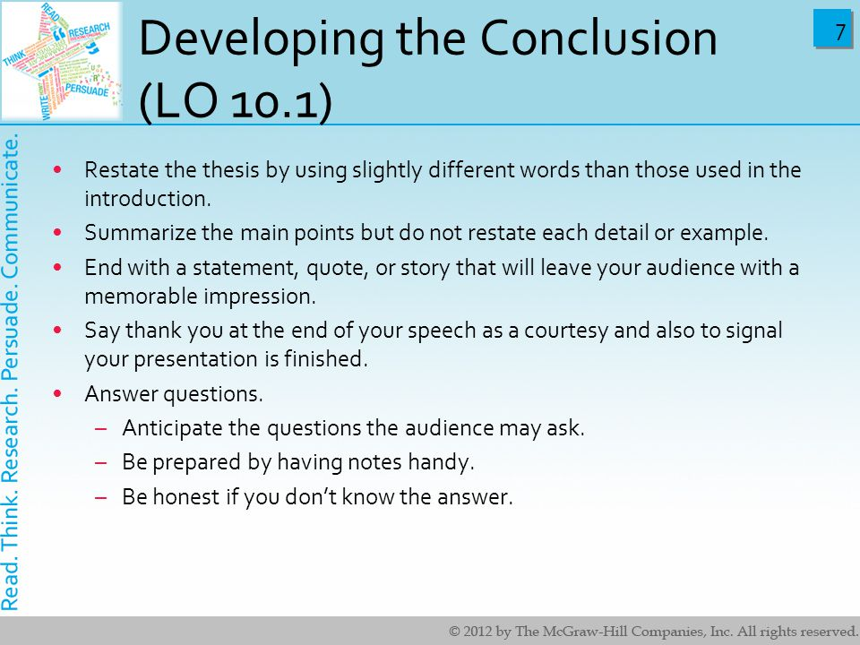Developing the Conclusion (LO 10.1)