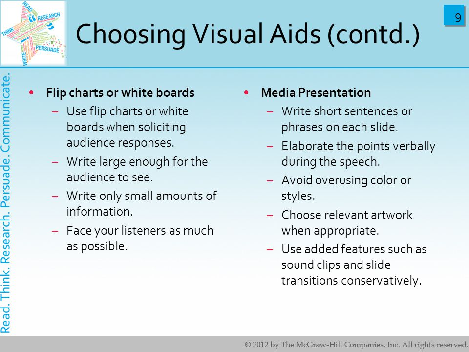 Choosing Visual Aids (contd.)