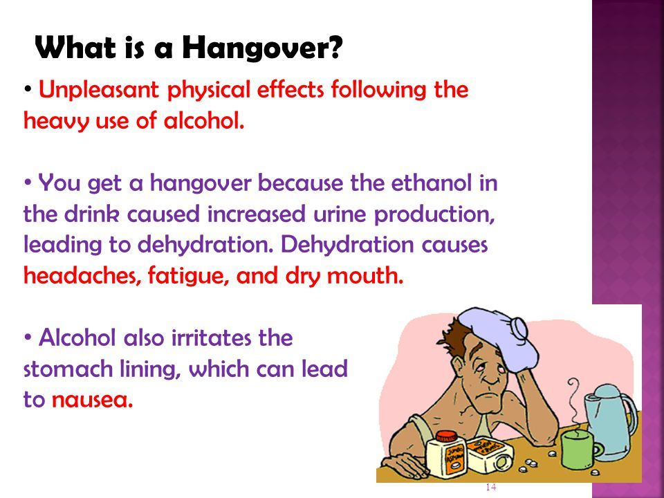What is a Hangover Unpleasant physical effects following the heavy use of alcohol.