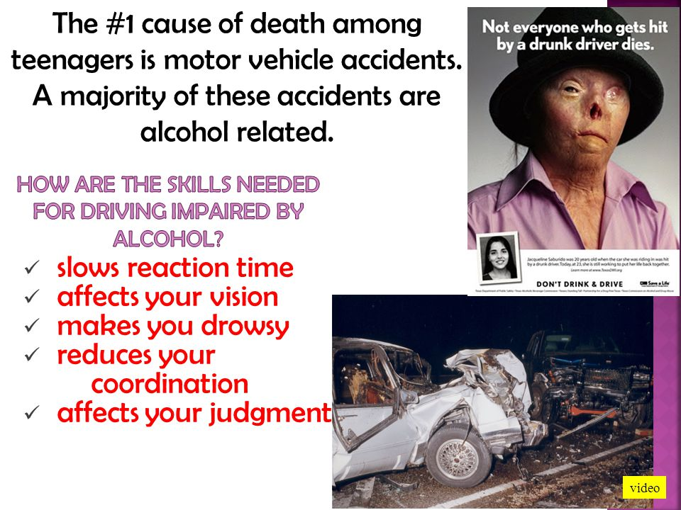 How are the skills needed for driving impaired by alcohol