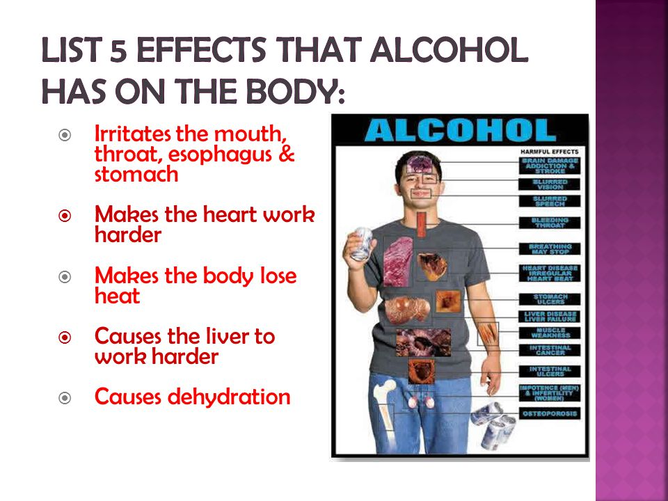List 5 effects that alcohol has on the body: