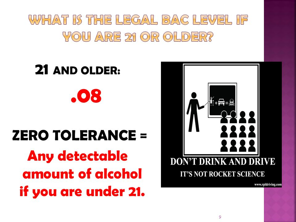 What is the legal BAC Level if you are 21 or older