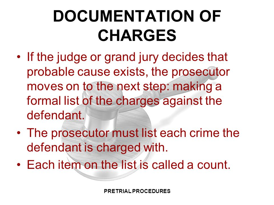 DOCUMENTATION OF CHARGES