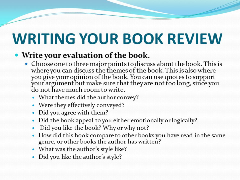 how to write a book review year 7