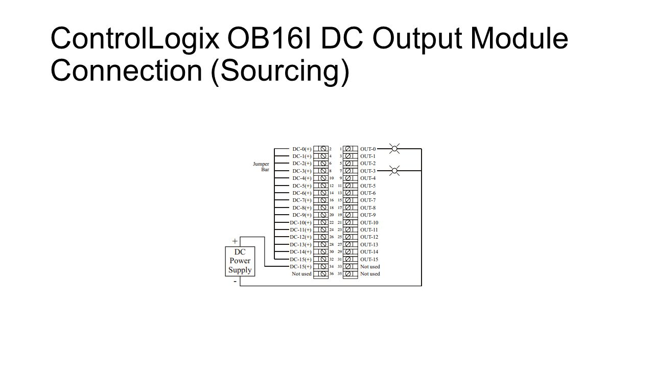 8 ControlLogix OB16I DC Output Module Connection (Sourcing)