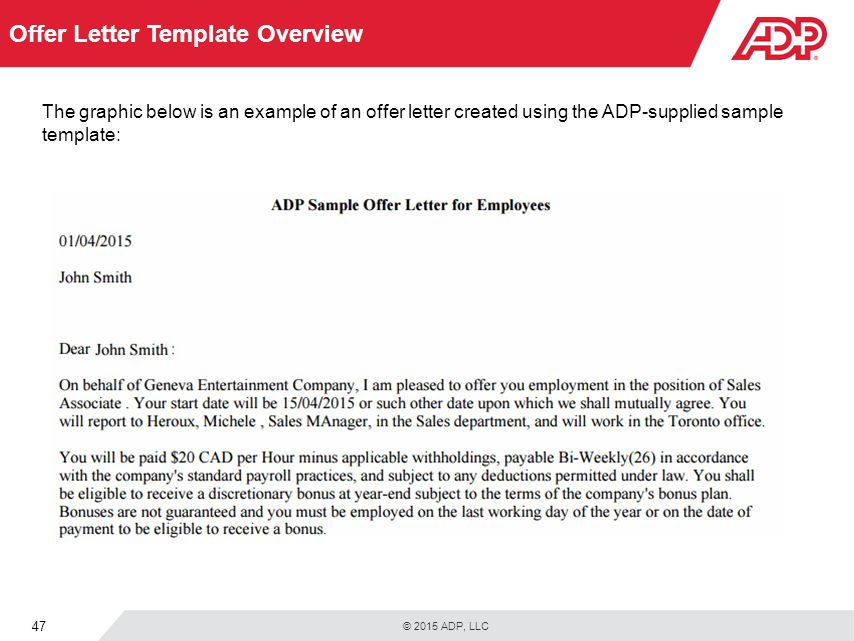 Welcome to recruitment for adp workforce now ppt download offer letter template overview thecheapjerseys Image collections