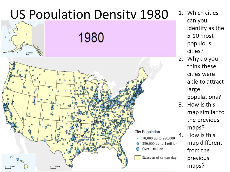 US Population Density 1980 Which cities can you identify as the 5-10 most populous cities