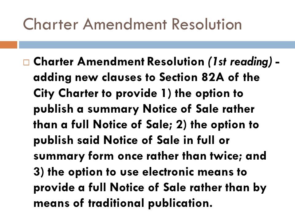 Charter Amendment Resolution