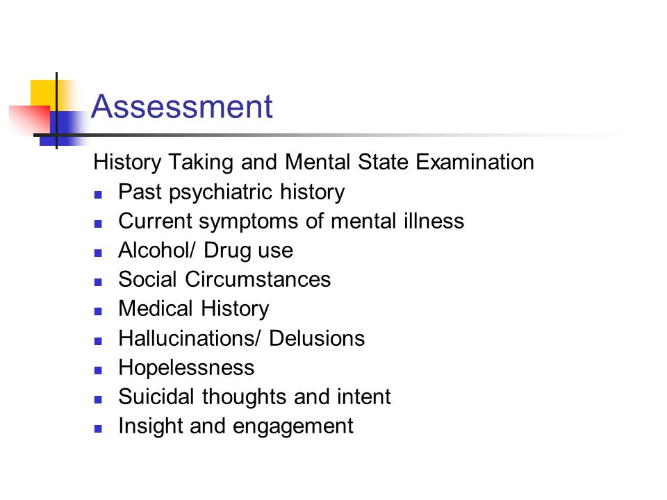 Assessment History Taking and Mental State Examination