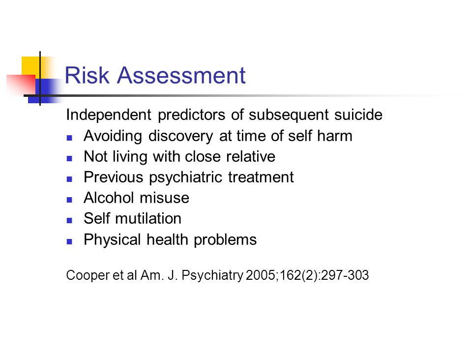Risk Assessment Independent predictors of subsequent suicide