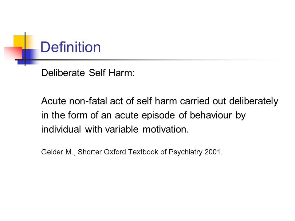 Definition Deliberate Self Harm: