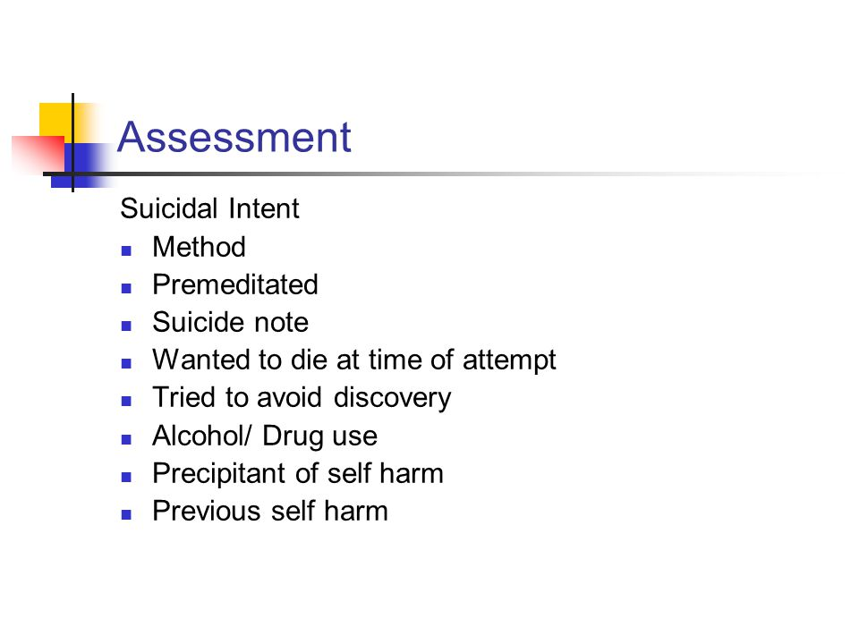 Assessment Suicidal Intent Method Premeditated Suicide note
