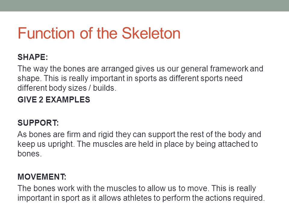 the skeletal system important questions The answer is because b the skeletal system creates the connective tissue and tendons that allow the body to move the human need the muscles or the tendons for performing its movement process without the bone or the skeletal system, human muscles do not have the structure and place to perform an organized movement.