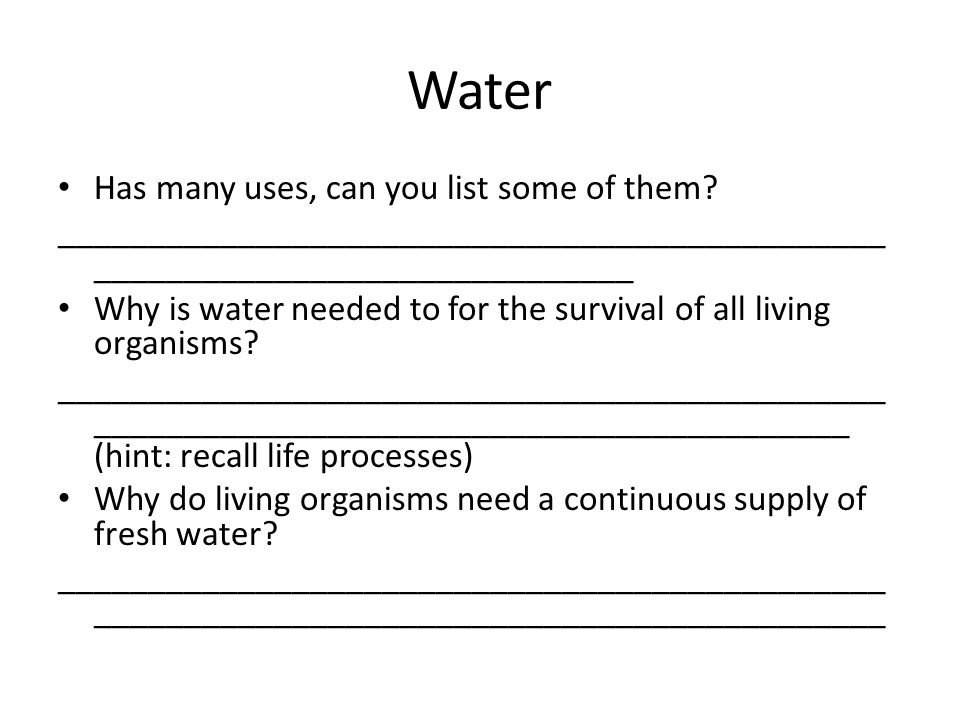 Water Has many uses, can you list some of them