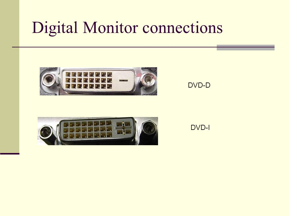Digital Monitor connections